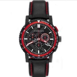 HP🎉 Men's BURBERRY WATCH BlackRed leather NWT