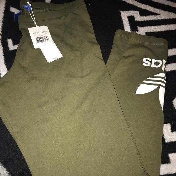 7def39fc22e46 Adidas Pants | Olive Trefoil Leggings L | Poshmark