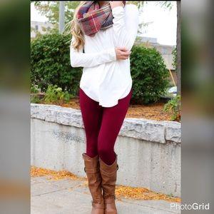 Pants - PLUS Size Burgundy Leggings
