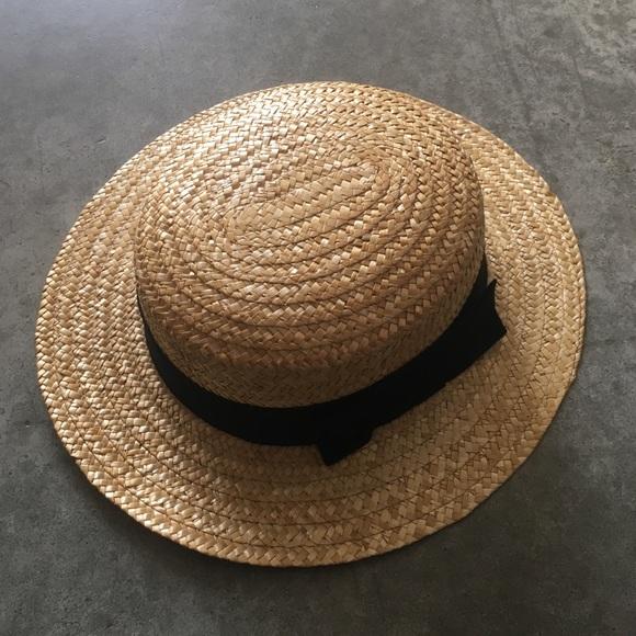 7da9a9984494b Luciano Berni Accessories - WOMEN S STRAW BOATER HAT WITH BLACK RIBBON