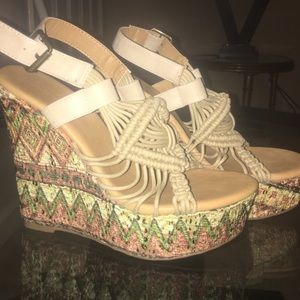 Shoes - Patterned Sandal Wedges