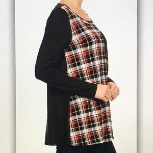Tops - 🕶Black/red🕶plaid long sleeve pocket blouse
