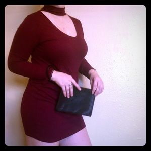 Atid Clothing Dresses & Skirts - Burgundy Choker Collar Dress