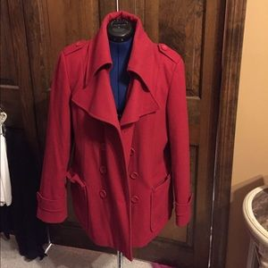 New York & Company Jackets & Blazers - Red Peacoat