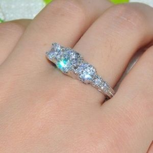 Unknown/Unbranded Jewelry - Wedding 3 Crystal Plated White Gold Filled Ring