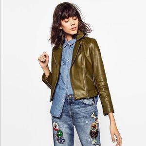 ZARA Leather Effect Jacket With Zips