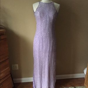 Scala Dresses & Skirts - Scala Silk Beaded Gown - Lavender; Open Back