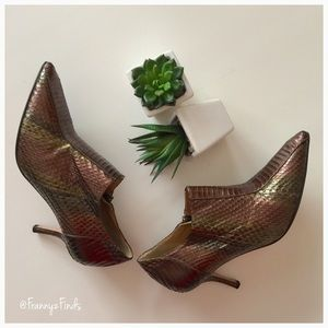 Beverly Feldman Shoes - • Beverly Feldman Reptile Print Booties •