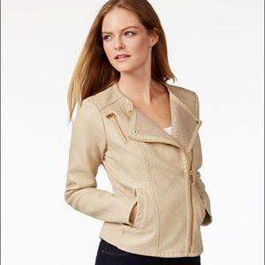 Calvin Klein Jackets & Blazers - Like new Calvin Klein tan faux leather Moto jacket