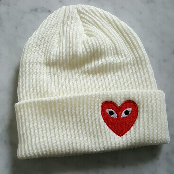 Comme des Garcons Play Heart Eyes Style Beanie 0a2c8461e4a