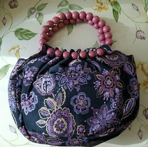 NWOT Floral Purse with Beaded Handles