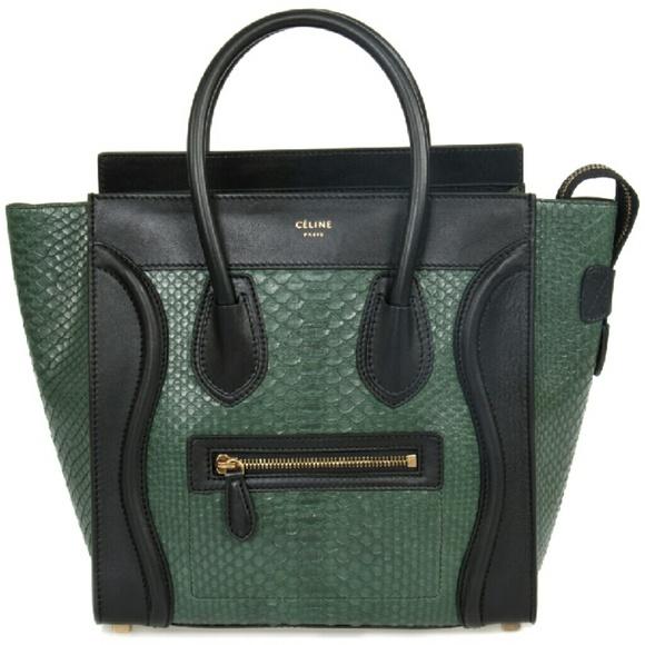 18f9abe973 Celine Micro Emerald Green Python Black Leather