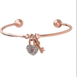 Swarovski crystal & rose gold heart key cuff