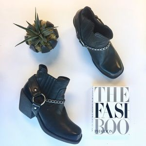 H&M Shoes - Black Moto Boot With Chain Detail