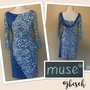 Muse Blue and Cream Dropped Back Dress
