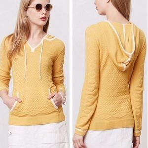 Anthropologie Sparrow Bordered Knit Hooded Sweater