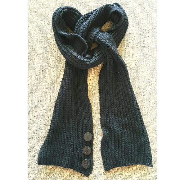 UGG Cardy Knit Angora Blend Long Black Scarf OS