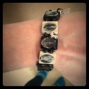 BKE Jewelry - Black and white saints bracelet