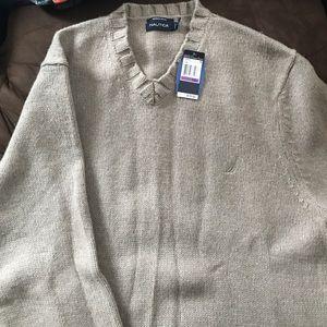 Nautica Other - Merino wool xxl nautica v neck sweater new beige