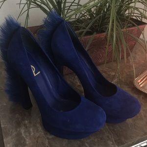 Yves Saint Laurent Shoes - 💙YSL Suede Palais Fur Trimmed Heels💙