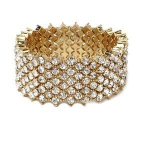 Amrita Singh Jewelry - Austrian Crystal Stretch Gold Bracelet