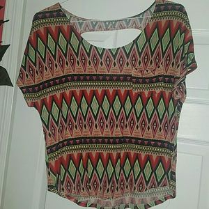 Cute Aztec print blouse with front pocket
