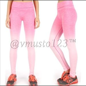 PINK OMBRÉ FOLD OVER WAIST YOGA PANTS