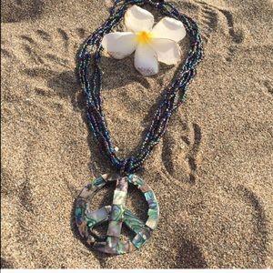 handmade Jewelry - SALE Gorgeous abalone mosaic peace pendant