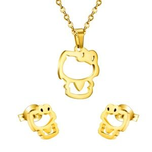 e04e6a90d Hello Kitty Jewelry - 18k GOLD Hello Kitty Necklace & Earrings Set