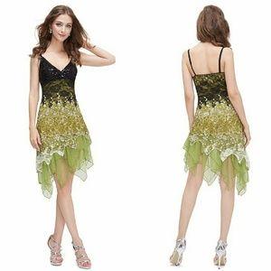 Green Ornate Floral Dress