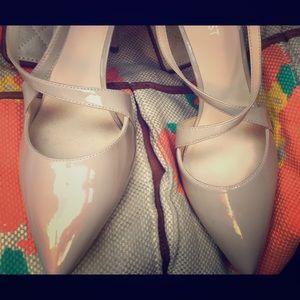 Nine West Shoes - Nine West Nude Patent Leather CrissCross Heel