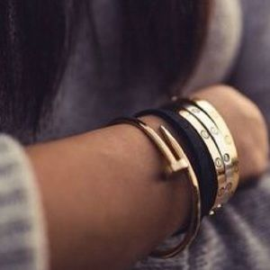 Gold Nail Bracelet Stackable Bangle Cuff
