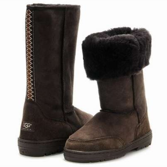 UGG Chocolate Brown W/ Aztec Stripe Boots