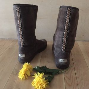 UGG Shoes - UGG Chocolate Brown W/ Aztec Stripe Boots
