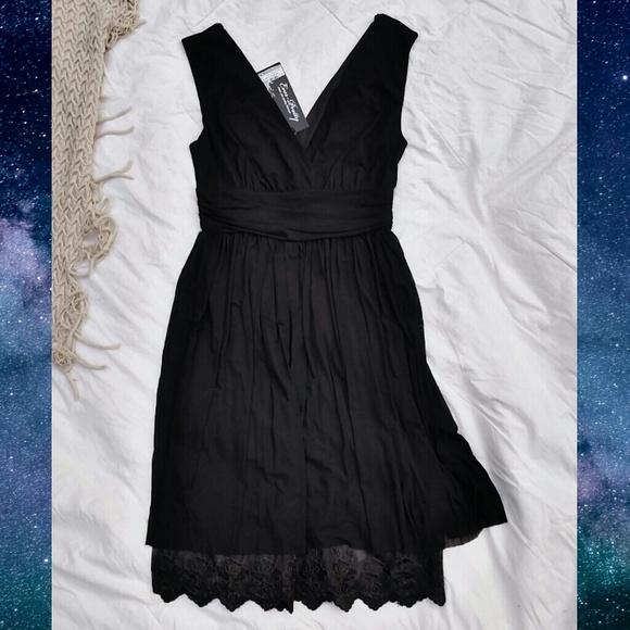 Black Lace Trimmed V-Neck Dress