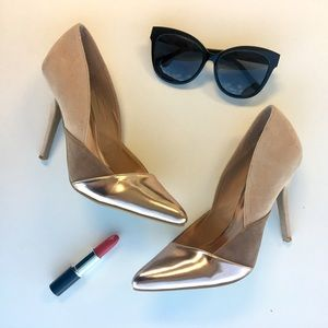 Anne Michelle Shoes - Rose Gold & Tan Pointed Toe Pumps