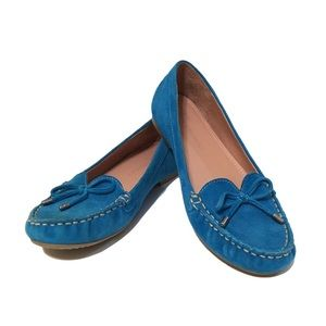❤️ Teal Blue Suede Moccasin Flats Size 6
