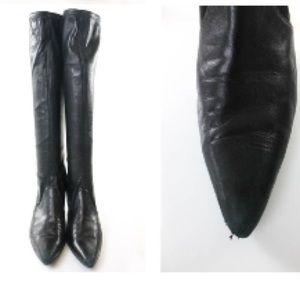 sws Shoes - SWS BLACK STRETCHY LEATHER MID CALF LENGTH  SZ 8