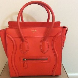 Celine Handbags - CELINE MICRO ORANGE LUGGAGE