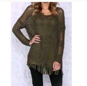 Monoreno Sweaters - Olive oversized sweater w/fringe