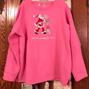 Quacker Factory Tops - Pink Santa Sweatshirt
