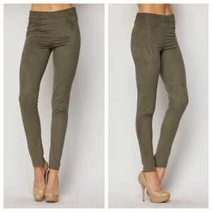 1 HOUR SALE!! Olive Suede Leggings