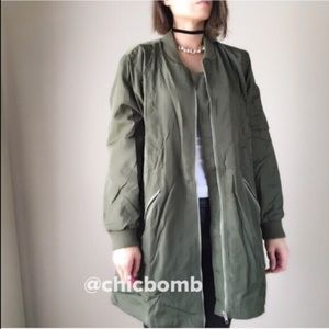 CHICBOMB Jackets & Blazers - Long olive dark green bomber jacket . Full lining