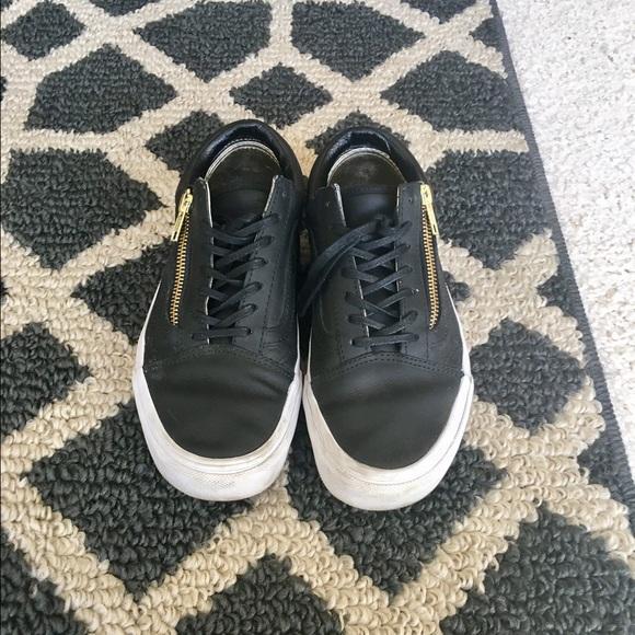 c9c421afd4b Vans Leather Old Skool Zip Black Gold W 7.5 M 6. M 585b0928680278351901991c