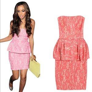Zara Dresses & Skirts - Zara Pink Lace Peplum Dress
