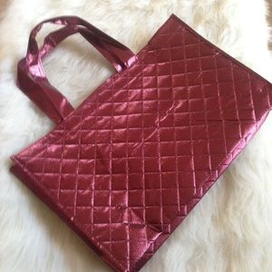 FREE w/purchase! cute metallic burgundy tote bag