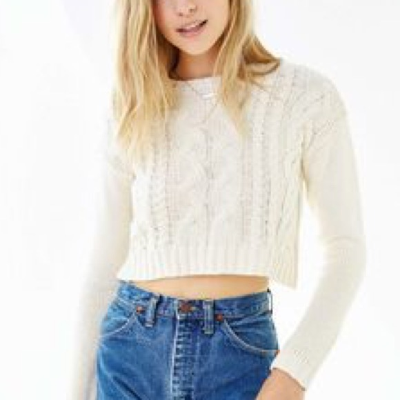 Divided Sweaters Cropped White Cable Knit Sweater Poshmark
