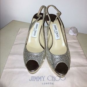"Jimmy Choo Gold ""Nova"" Glitter Slingback Peep-Toe"