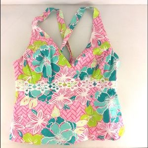 🌴LILLY PULITZER BACKLESS FLORAL Top shirt 10🌴