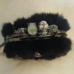 EMELIO FRANK Saree Clutch Crossbody skulls fur NWT